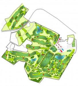 Plan für 18 Loch-Golfplatz mit Höhenlinie